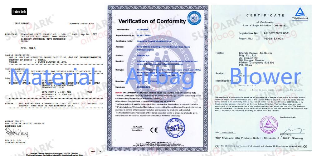 Landing Airbags Certificate